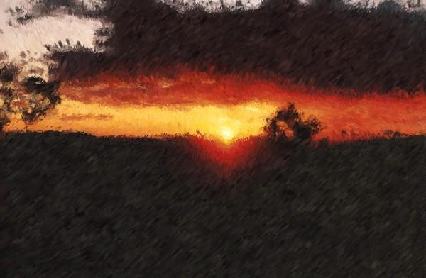 Arizona Sunset Impressionist Inspired Digital Painting
