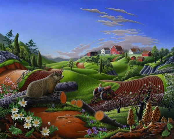 farm landscape folk art Spring Groundhog Country