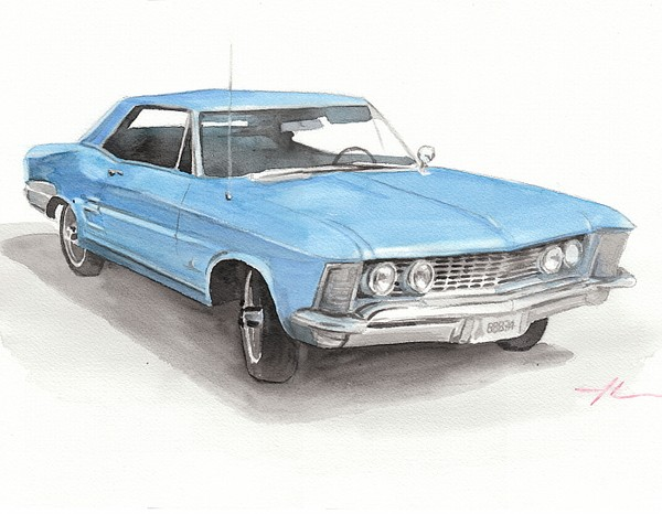 classic car watercolor painting theuer