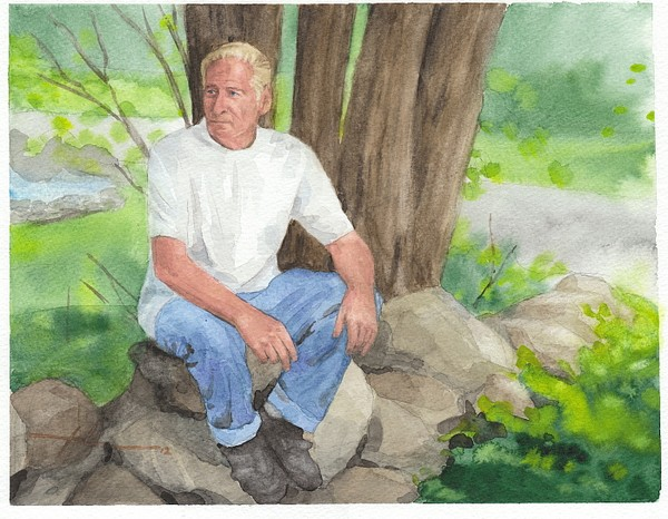 man rock wall watercolor painting theuer
