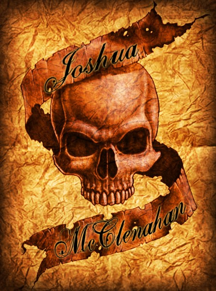 Skull with banner