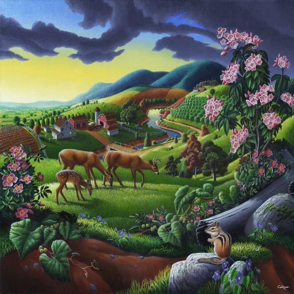 Square Art - Deer Meadow Mountain Landscape