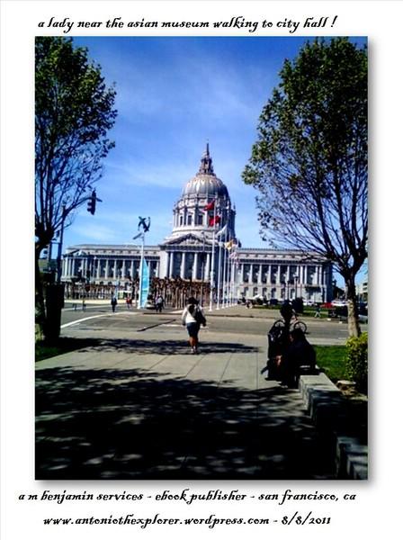 lady walking towards city hall