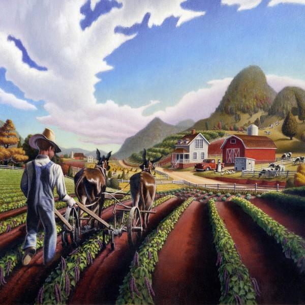 Farmer Cultivating Peas -  Square Format Art