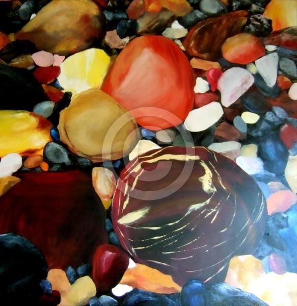 Rock on pebble