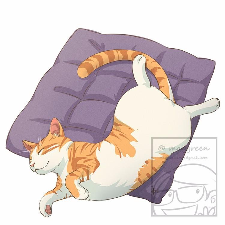 Sleeping Cat Orange Tabby