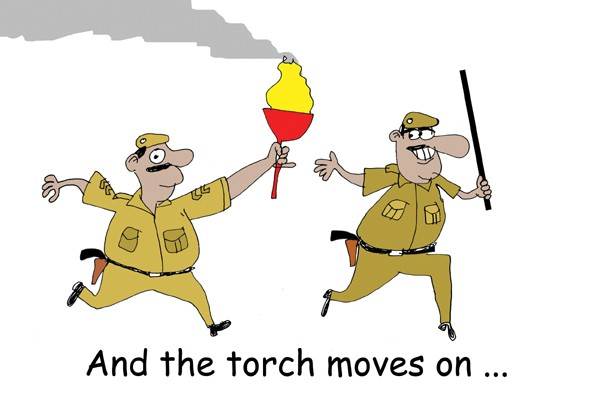 the olympic torch in india