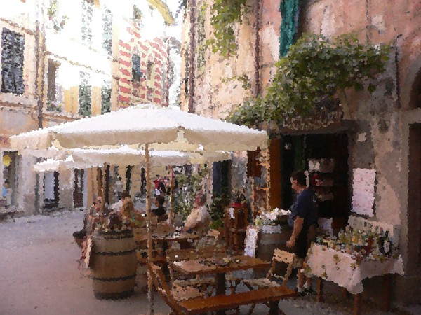Cinque Terre Cafe Atmosphere Painting