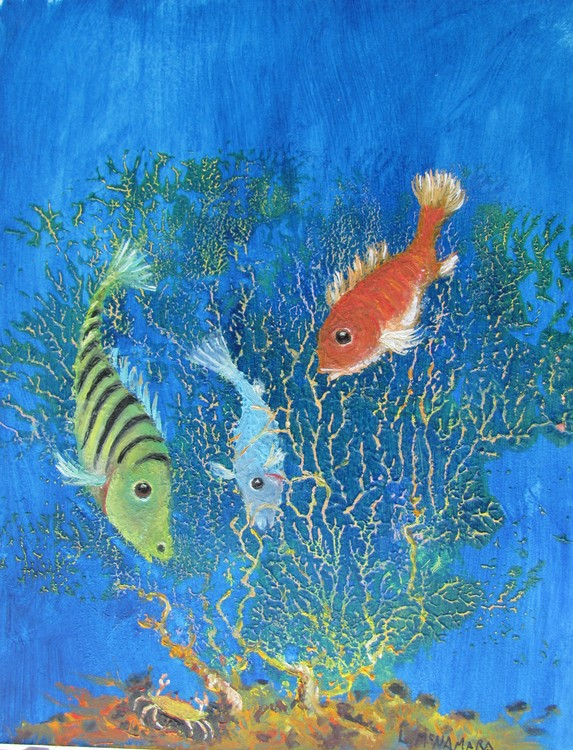 1716 I'm not Scared! Fish Painting Fantasy