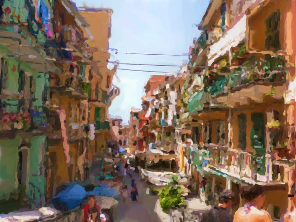 Cinque Terre Street Atmosphere Painting