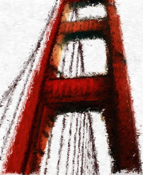 A Walk on the Golden Gate Impressionist Digital Painting