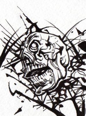 Skull ACEO b & w II