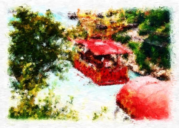 Aerial Ropeway Crossing Niagara Falls Impressionist Digital Painting