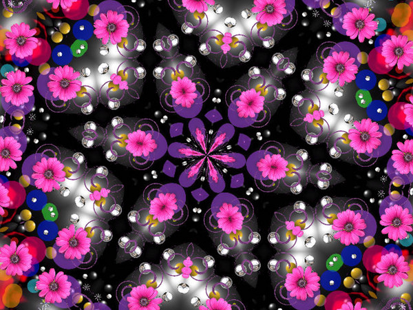 Flowers and buttons design