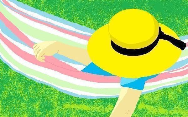 hat on in a hammock