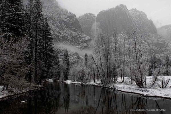 Merced River Yosemite Valley morning snow