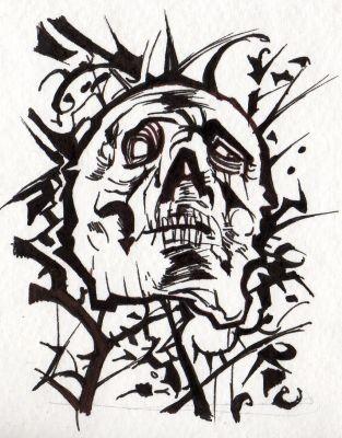 Skull ACEO b&w III