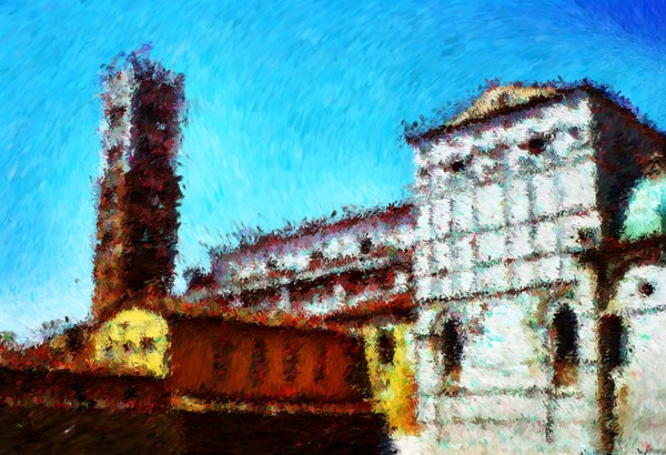 Duomo di Lucca and it was hot hot hot Impressionist Digital Painting