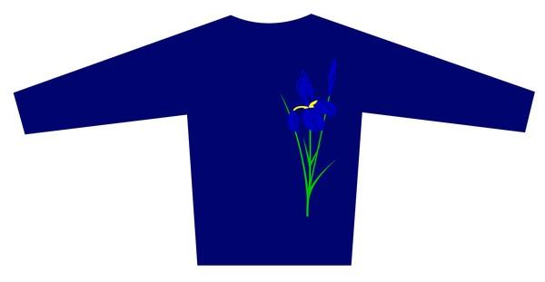 Blouse Design with the Flower Iris motif  Brand is LONVIG ART