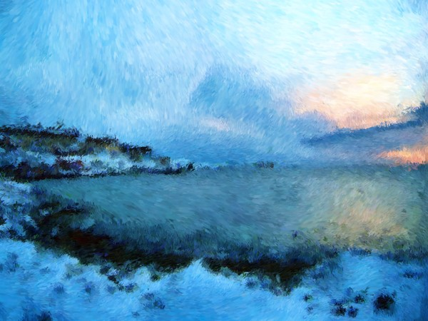 Greenland and the Bay Impressionist Digital Painting