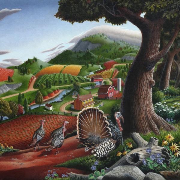 Wild Turkeys In The Hills - Square Format Art