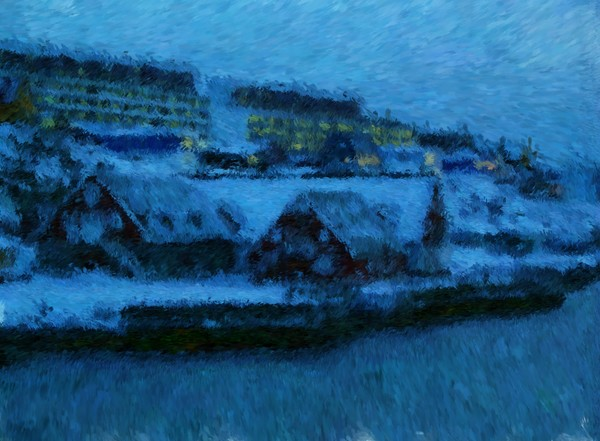 Greenland Harbor Buildings in Nuuk Impressionist Digital Painting