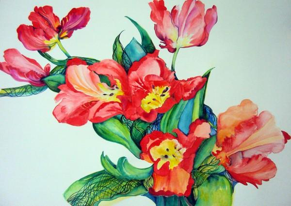 Art print Watercolor flowers painting