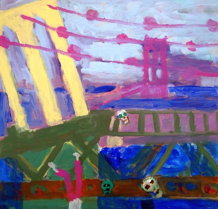 Death artist on Brooklin Bridge
