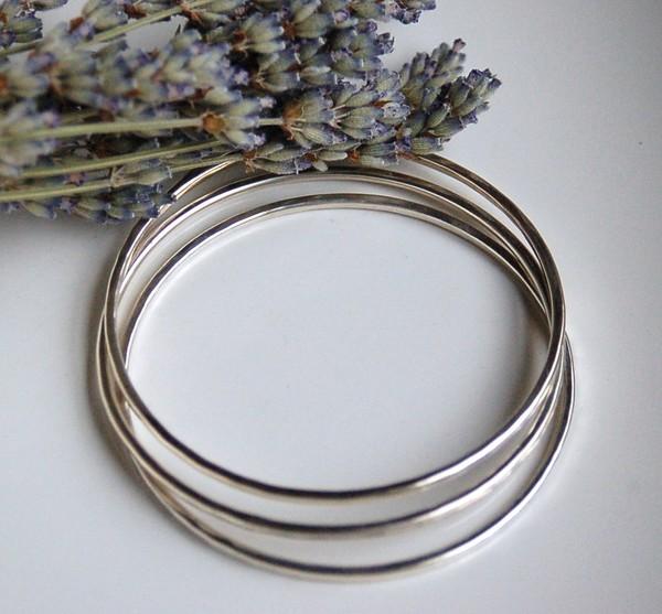 Triple Silver Bangles