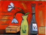 still life with a red background