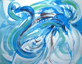 Blue Feather Swirl