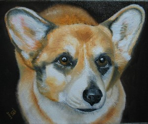 Oil Painting of Corgi Dog