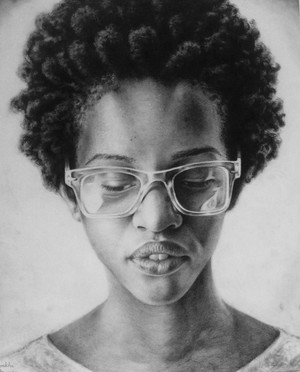Black girl with glasses pencil portrait 2015