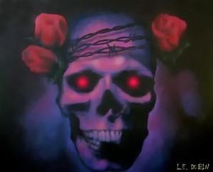 Purple Thorns + Roses Skull