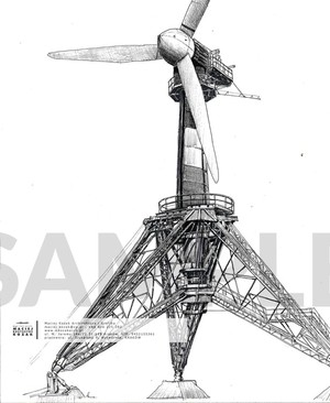 Portfolio Item - hand drawn technical wind turbine Maciej Kozak