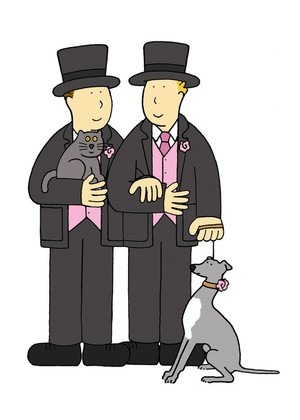 Two grooms with their pets.