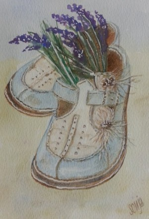 Blue shoes and lavender