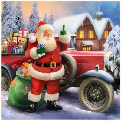 Santa with classic car