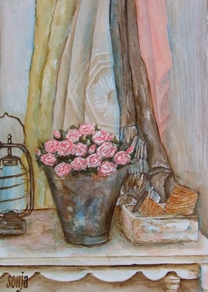 Still life on table with roses