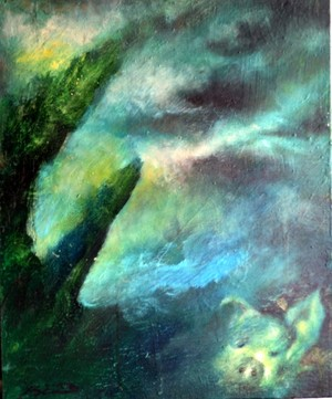 The piggy and an azure sky.-oil-.34x28cm