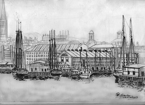 Boston Harbor and the Commercial Wharf ca. 1877