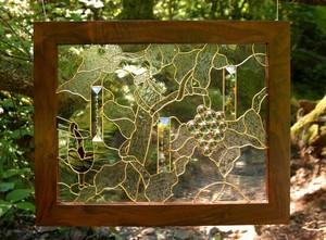 European Clear & Textured Glass Vineyard Scene