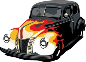 car with flame