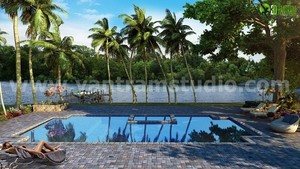 3D Exterior Home with Pool and River