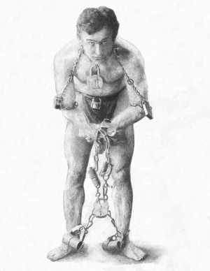Harry Houdini graphite drawing by Dean Huck
