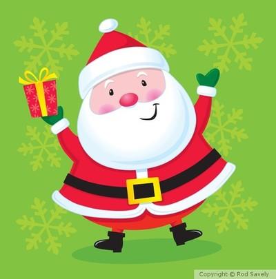 Happy Santa with a Present