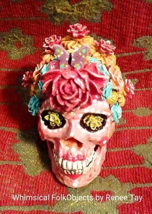 Pink Flower Skull