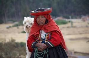 Woman and Alpaca in Cuzco