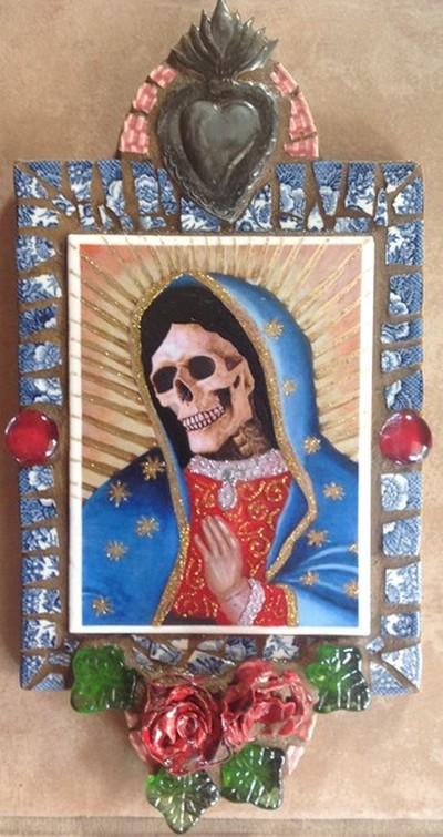 Virgin de Guadalupe- Dia de Los Muertos Retablo