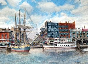 Detroit Michigan: The Waterfront ca. 1890